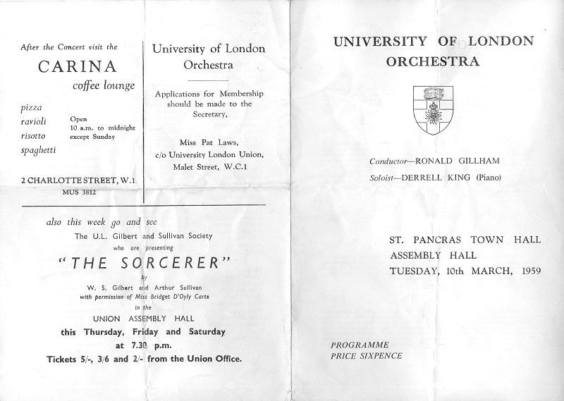 University of London Orchestra concert programme cover