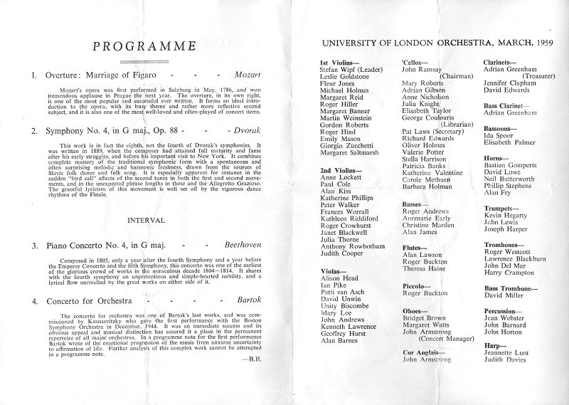 University of London Orchestra concert programme
